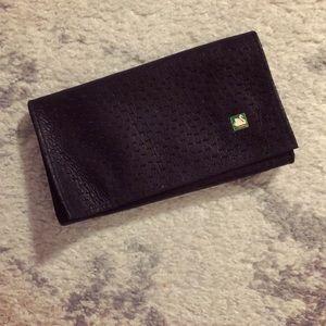 Classic genuine black leather tobacco pouch